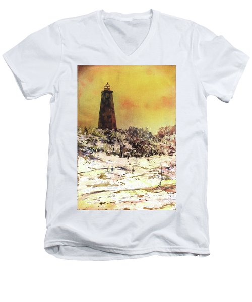 Men's V-Neck T-Shirt featuring the painting Old Baldy Lighthouse- North Carolina by Ryan Fox