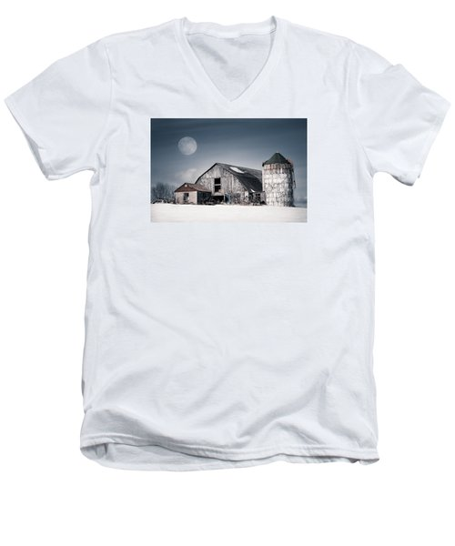 Men's V-Neck T-Shirt featuring the photograph Old Barn And Winter Moon - Snowy Rustic Landscape by Gary Heller