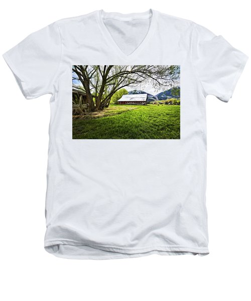 Men's V-Neck T-Shirt featuring the digital art Old Barn In Eden Utah by James Steele