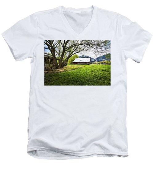 Old Barn In Eden Utah Men's V-Neck T-Shirt