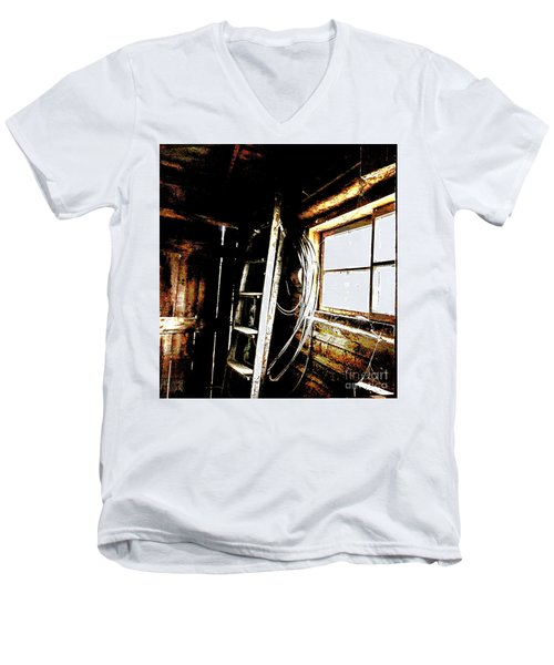 Old Barn Ladder Men's V-Neck T-Shirt by Deborah Nakano