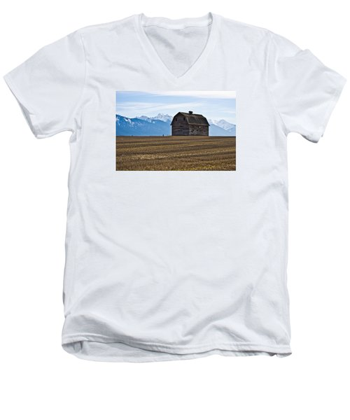 Old Barn, Mission Mountains 2 Men's V-Neck T-Shirt