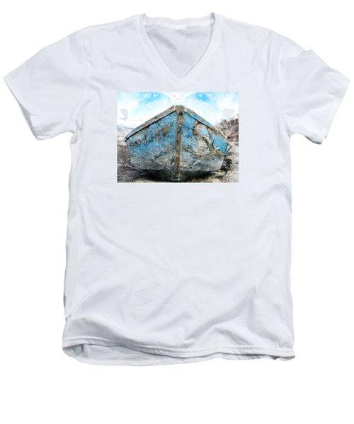 Old Blue # 2 Men's V-Neck T-Shirt by Ed Hall