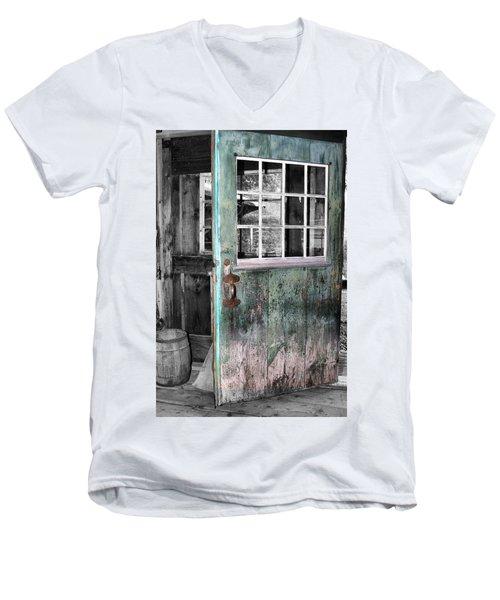 Rustic Blue - Green Door  Men's V-Neck T-Shirt