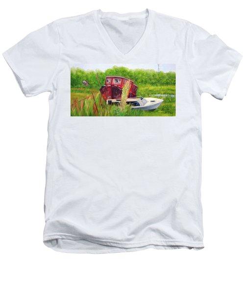 old boats in Belford Men's V-Neck T-Shirt