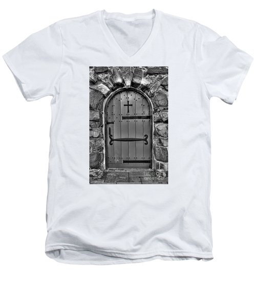 Men's V-Neck T-Shirt featuring the photograph Old Church Door by Alana Ranney