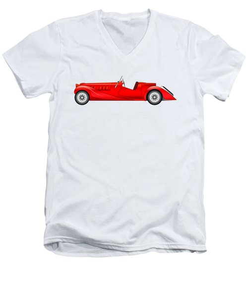 Men's V-Neck T-Shirt featuring the digital art Old Classic Race Car by Michal Boubin