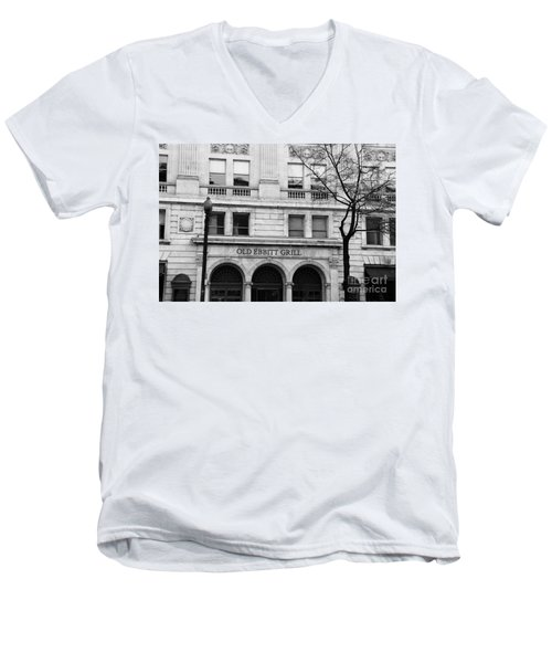 Old Ebbitt Grill Facade Black And White Men's V-Neck T-Shirt