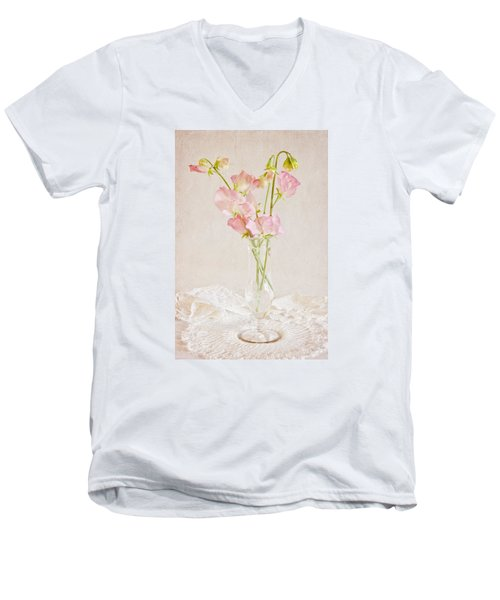 Old Fashioned Sweet Peas Men's V-Neck T-Shirt by Sandra Foster
