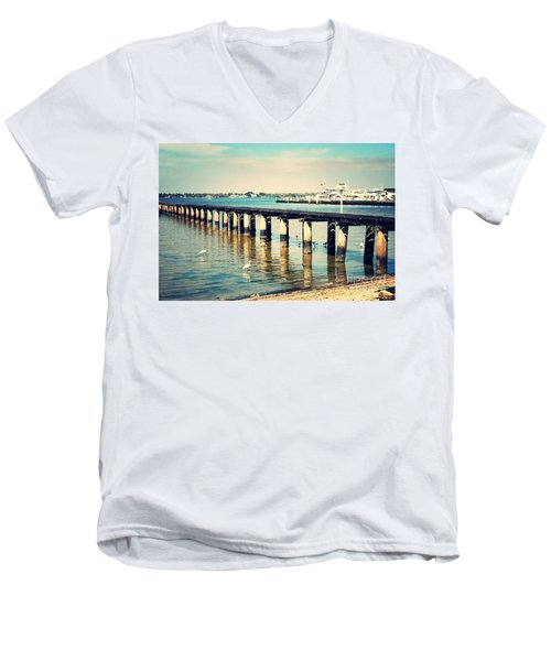 Old Fort Myers Pier With Ibises Men's V-Neck T-Shirt by Carol Groenen