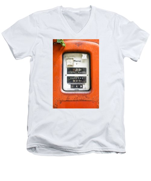 Men's V-Neck T-Shirt featuring the photograph Old Gas Pump by Tom Singleton
