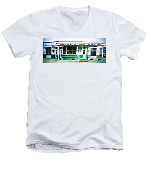 Old Gas Station Green Tile Men's V-Neck T-Shirt
