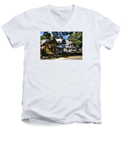 Old Homes Martha's Vineyard Men's V-Neck T-Shirt by Donald Williams
