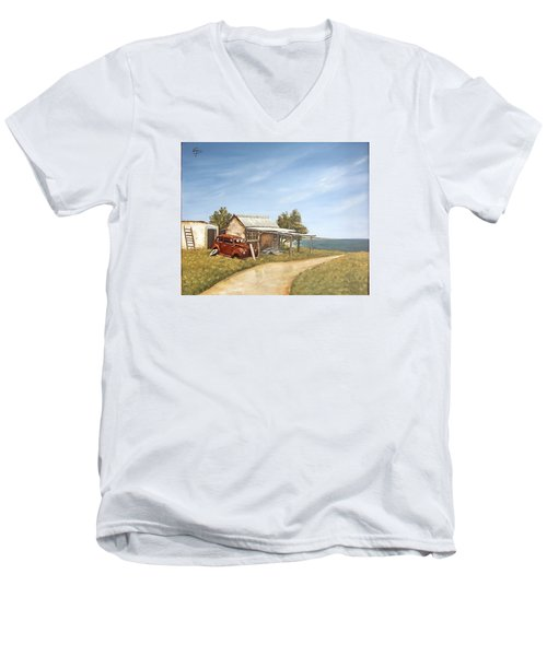 Old House By The Sea Men's V-Neck T-Shirt by Natalia Tejera