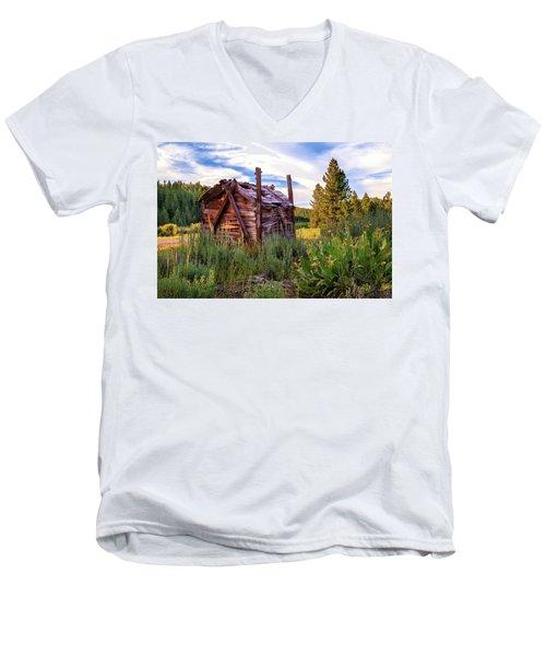 Old Lumber Mill Cabin Men's V-Neck T-Shirt by James Eddy