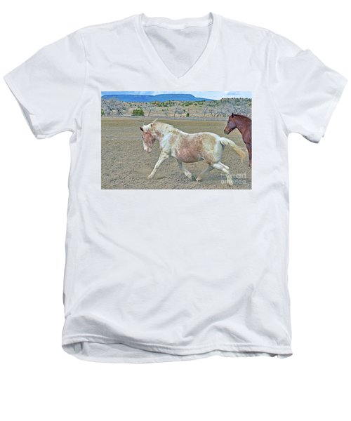 Men's V-Neck T-Shirt featuring the photograph Old Mare by Debby Pueschel