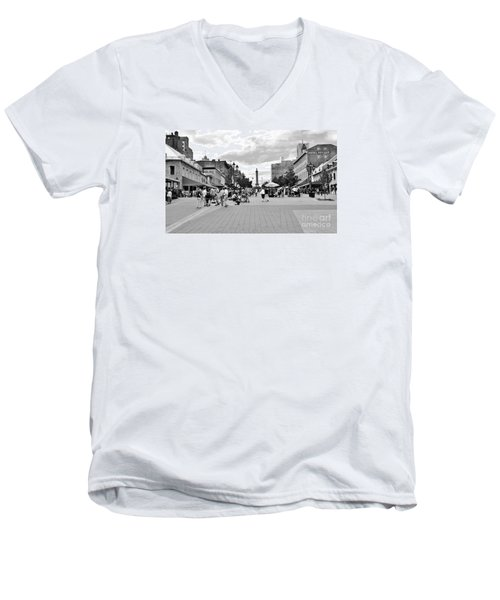 Old Montreal Jacques Cartier Square Men's V-Neck T-Shirt by Reb Frost