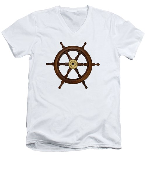 Old Oak Steering Wheel For Boats And Ships Men's V-Neck T-Shirt by Tom Conway