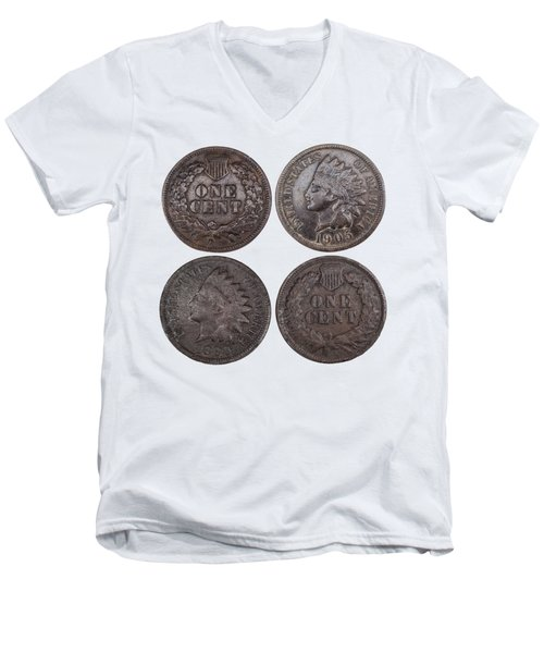 Men's V-Neck T-Shirt featuring the photograph Old Pennies 2016-1 by Thomas Young