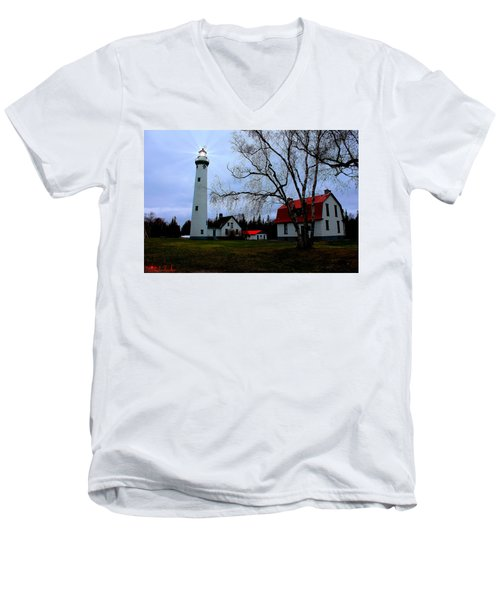 Old Presque Isle Lighthouse Men's V-Neck T-Shirt