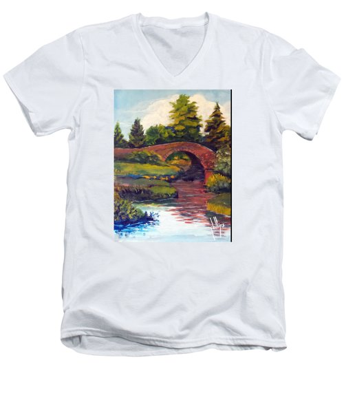 Old Red Stone Bridge Men's V-Neck T-Shirt by Jim Phillips