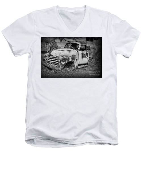 Men's V-Neck T-Shirt featuring the photograph Old Rusty Chevy In Black And White by Paul Ward