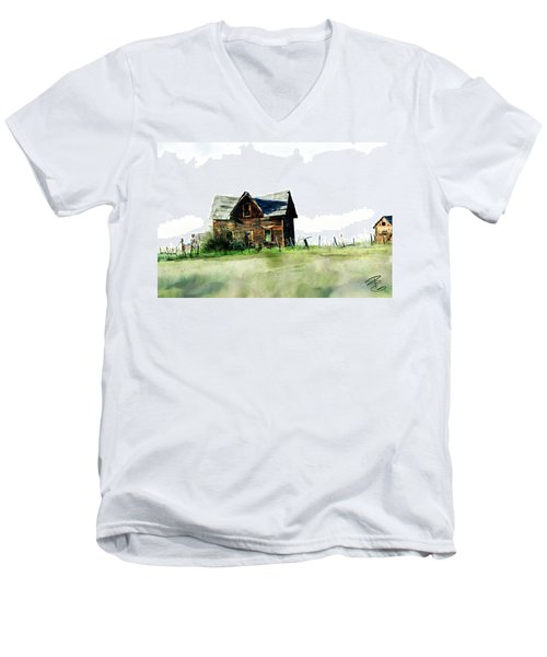 Old Sagging House Men's V-Neck T-Shirt by Debra Baldwin