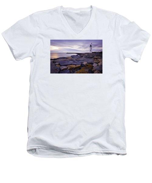 Old Scituate Light At Sunrise Men's V-Neck T-Shirt by Betty Denise