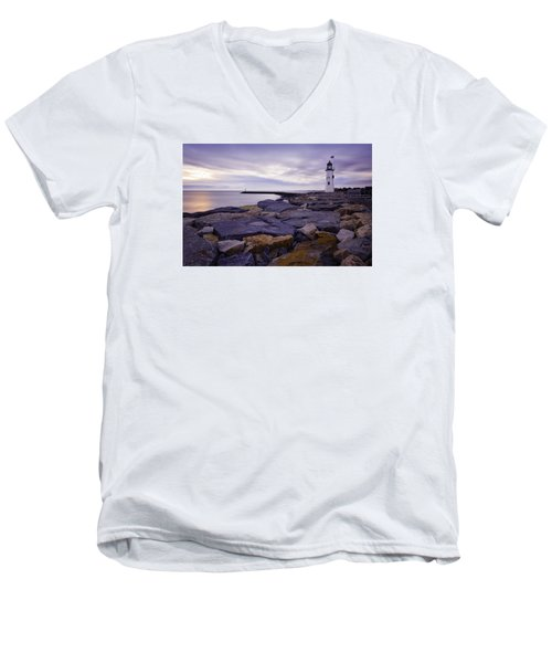 Old Scituate Light At Sunrise Men's V-Neck T-Shirt