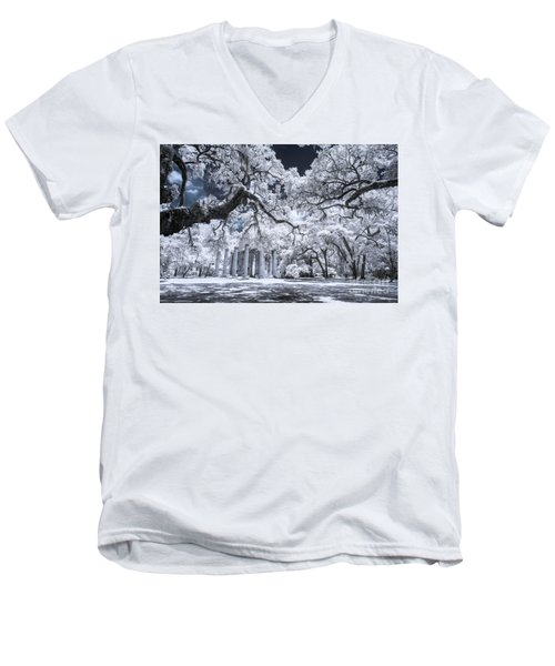 Old Sheldon Church In Infrared Men's V-Neck T-Shirt