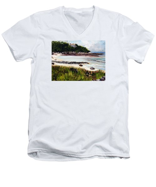Old Silver Beach Falmouth Men's V-Neck T-Shirt by Michael Helfen