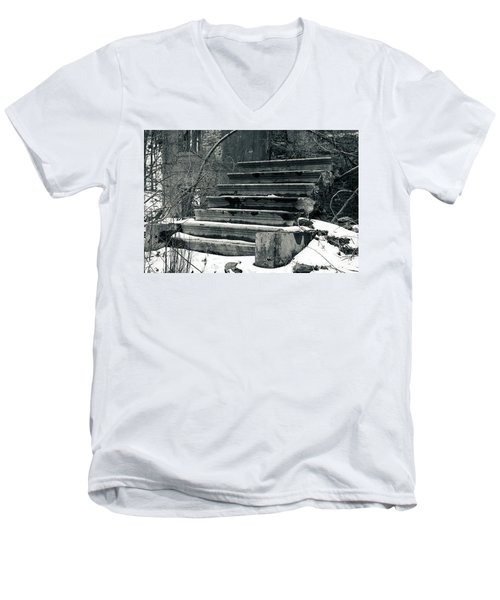 Old Stairs To Nowhere Men's V-Neck T-Shirt by Jeff Severson