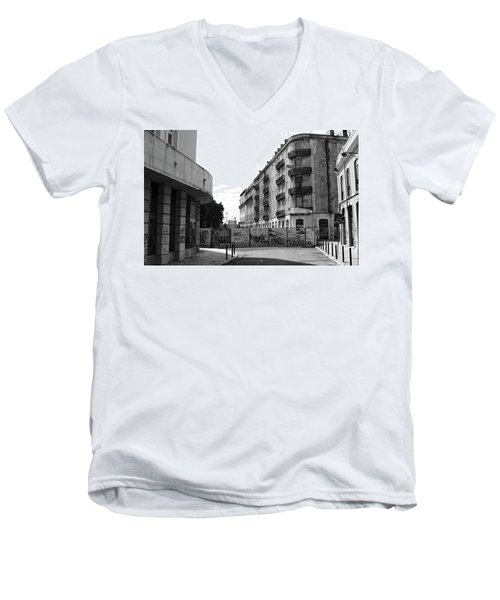 Men's V-Neck T-Shirt featuring the photograph Old Town Neighborhood In The Black And White Of Blight by Lorraine Devon Wilke
