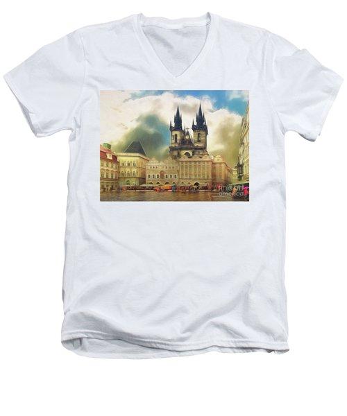 Old Town Square Prague In The Rain Men's V-Neck T-Shirt