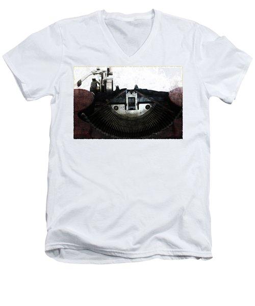 Old Typewriter Machine In Grunge Style Men's V-Neck T-Shirt by Michal Boubin