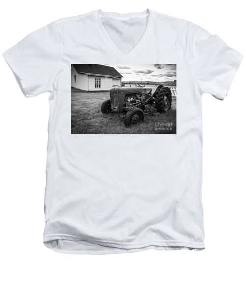 Men's V-Neck T-Shirt featuring the photograph Old Vintage Tractor Iceland by Edward Fielding