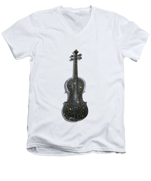 Old Violin With Painted Symbols Men's V-Neck T-Shirt by Tom Conway