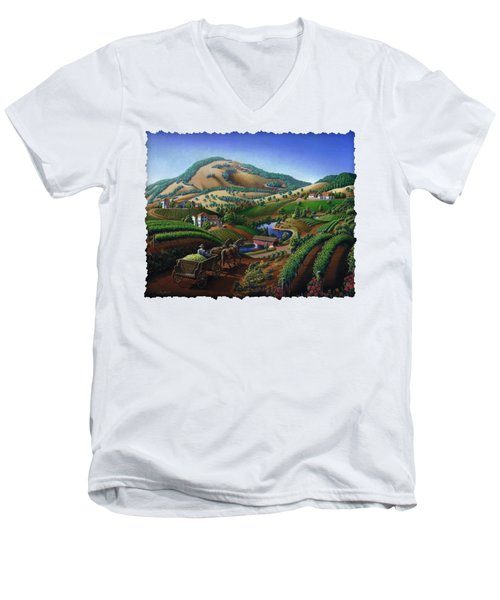 Old Wine Country Landscape - Delivering Grapes To Winery - Vintage Americana Men's V-Neck T-Shirt by Walt Curlee