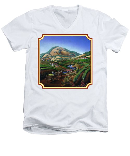 Old Wine Country Landscape Painting - Worker Delivering Grape To The Winery -square Format Image Men's V-Neck T-Shirt