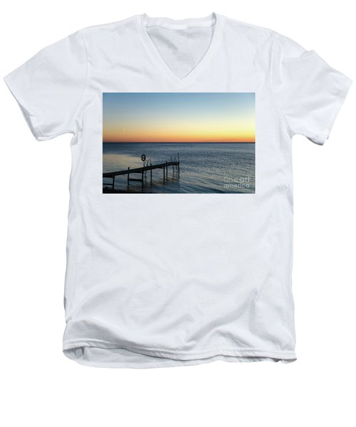 Men's V-Neck T-Shirt featuring the photograph Old Wooden Bath Pier by Kennerth and Birgitta Kullman