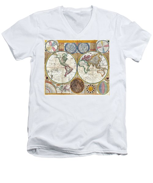 Old World Map Print From 1794 Men's V-Neck T-Shirt