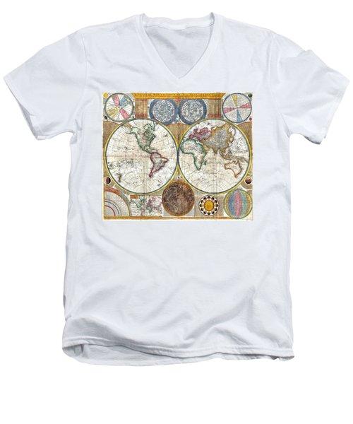 Old World Map Print From 1794 Men's V-Neck T-Shirt