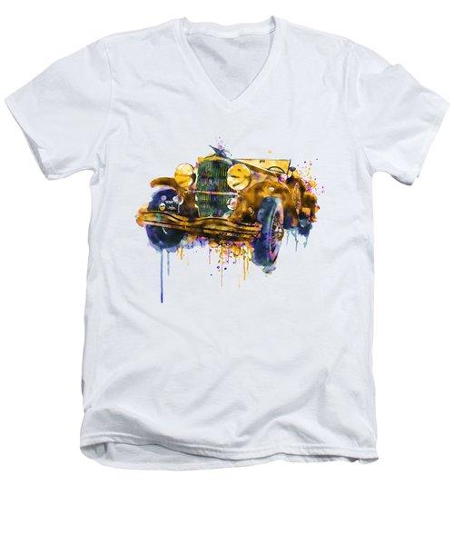 Oldtimer Automobile In Watercolor Men's V-Neck T-Shirt