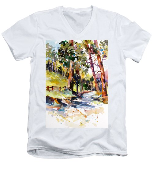 Men's V-Neck T-Shirt featuring the painting Olinda Trees Maui 2 by Rae Andrews