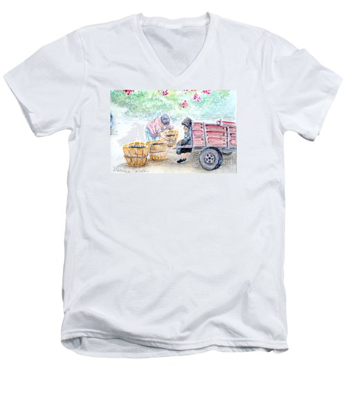 Men's V-Neck T-Shirt featuring the painting Olive Pickers by Marilyn Zalatan