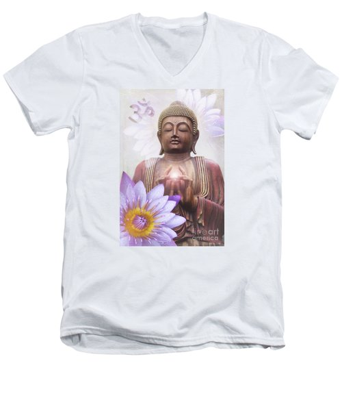 Om Mani Padme Hum - Buddha Lotus Men's V-Neck T-Shirt by Sharon Mau
