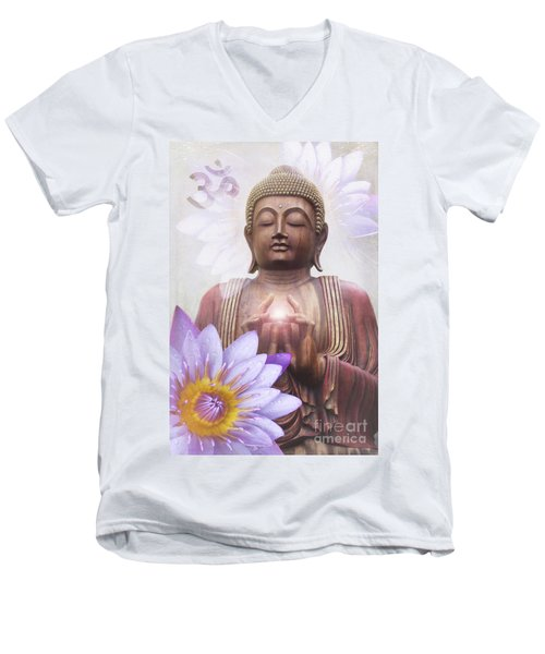 Om Mani Padme Hum - Buddha Lotus Men's V-Neck T-Shirt