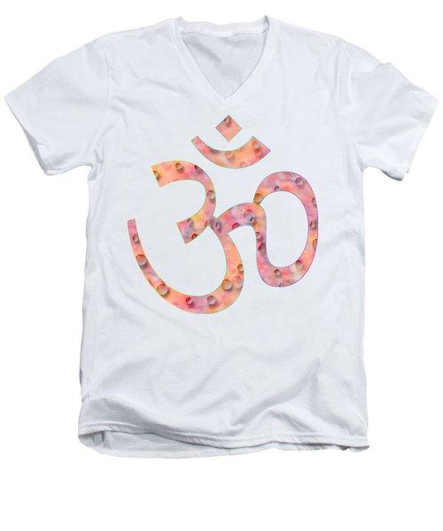 Men's V-Neck T-Shirt featuring the painting Om Symbol Digital Painting by Georgeta Blanaru