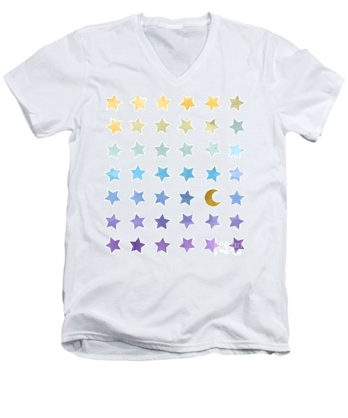 Ombre Cosmos Men's V-Neck T-Shirt by Whitney Morton