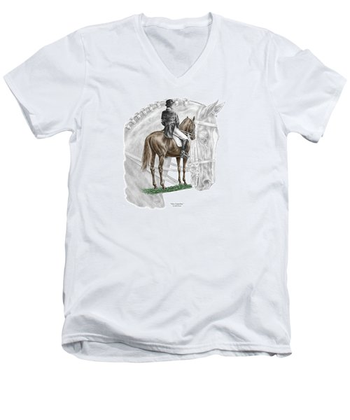 Men's V-Neck T-Shirt featuring the drawing On Centerline - Dressage Horse Print Color Tinted by Kelli Swan